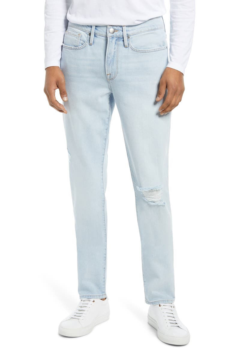 FRAME L'Homme Skinny Fit Jeans, Main, color, SUGARCANE RIPS