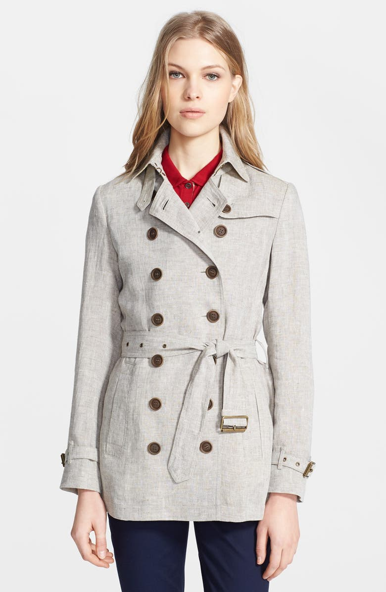 BURBERRY BRIT 'Crombridge' Double Breasted Linen Trench, Main, color, 270