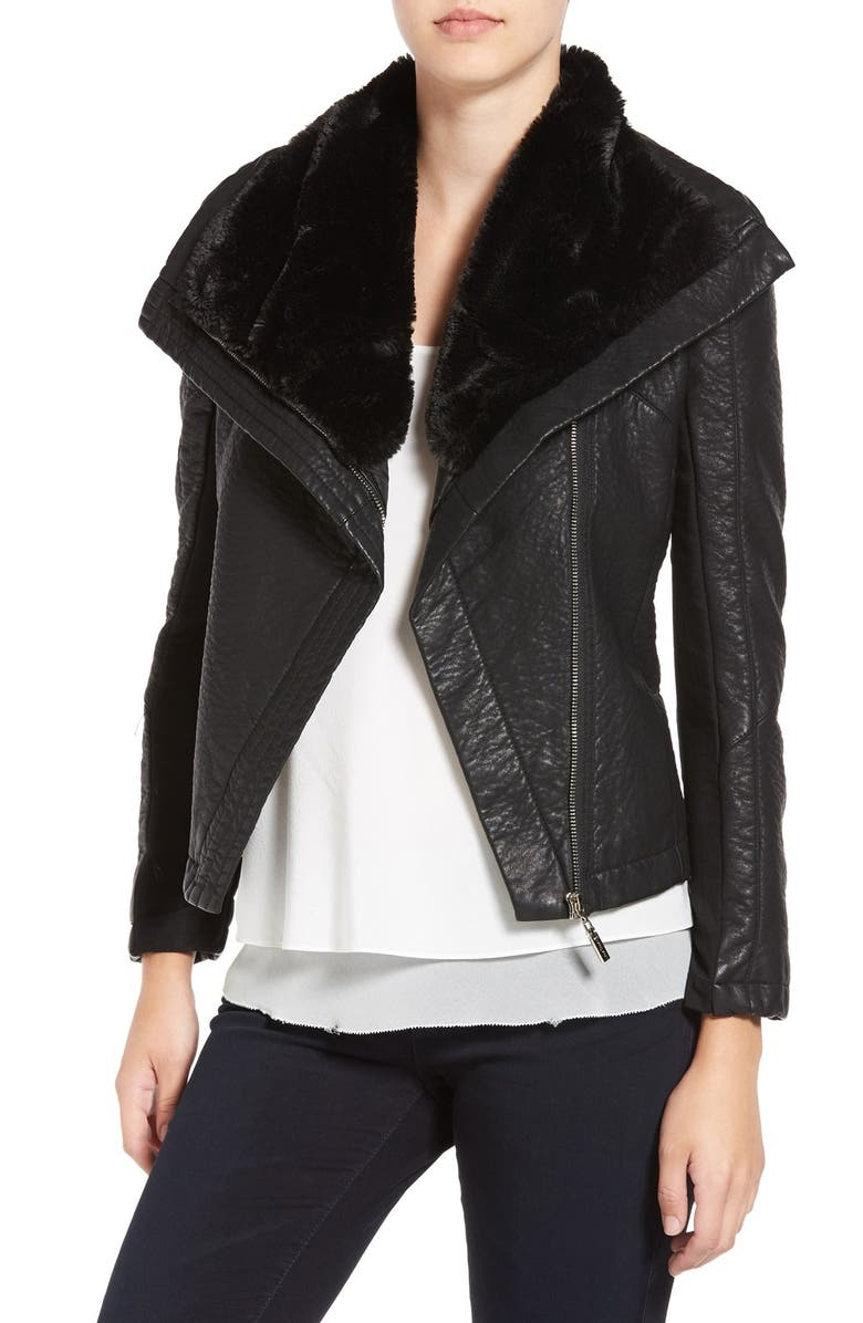 LOVE TOKEN Faux Leather Jacket with Faux Shearling Trim, Main, color, 001