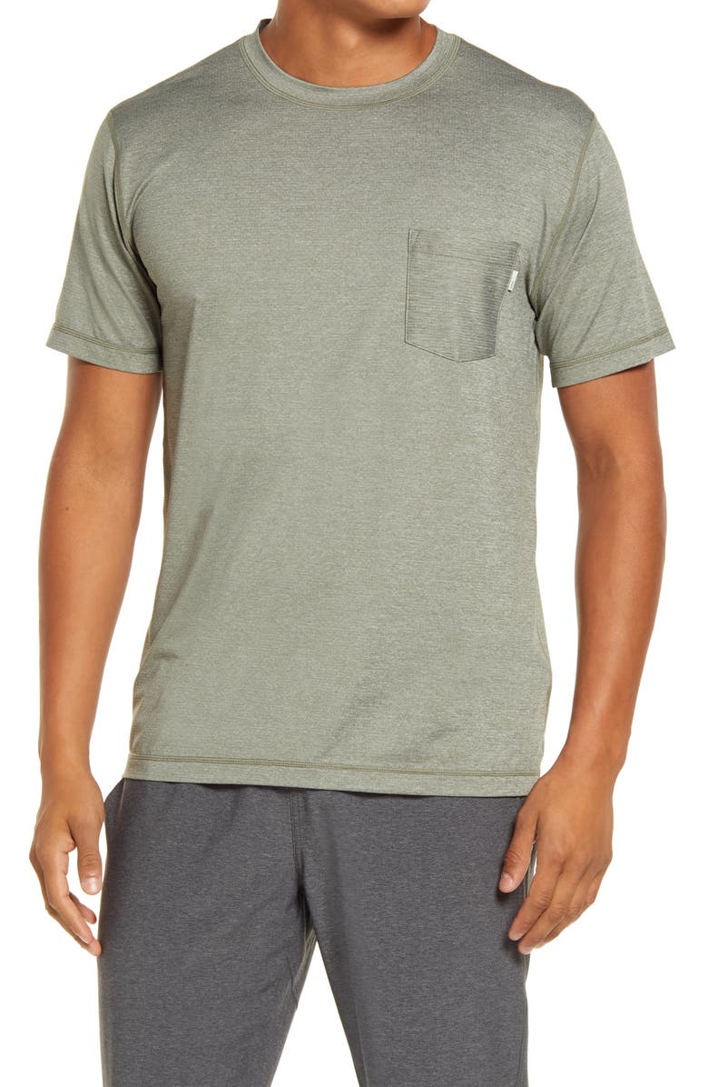 VUORI Tradewind Pocket Performance T-Shirt, Main, color, ARMY HEATHER