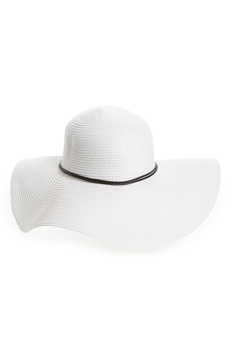 DAVID & YOUNG Floppy Straw Sun Hat, Main, color, White