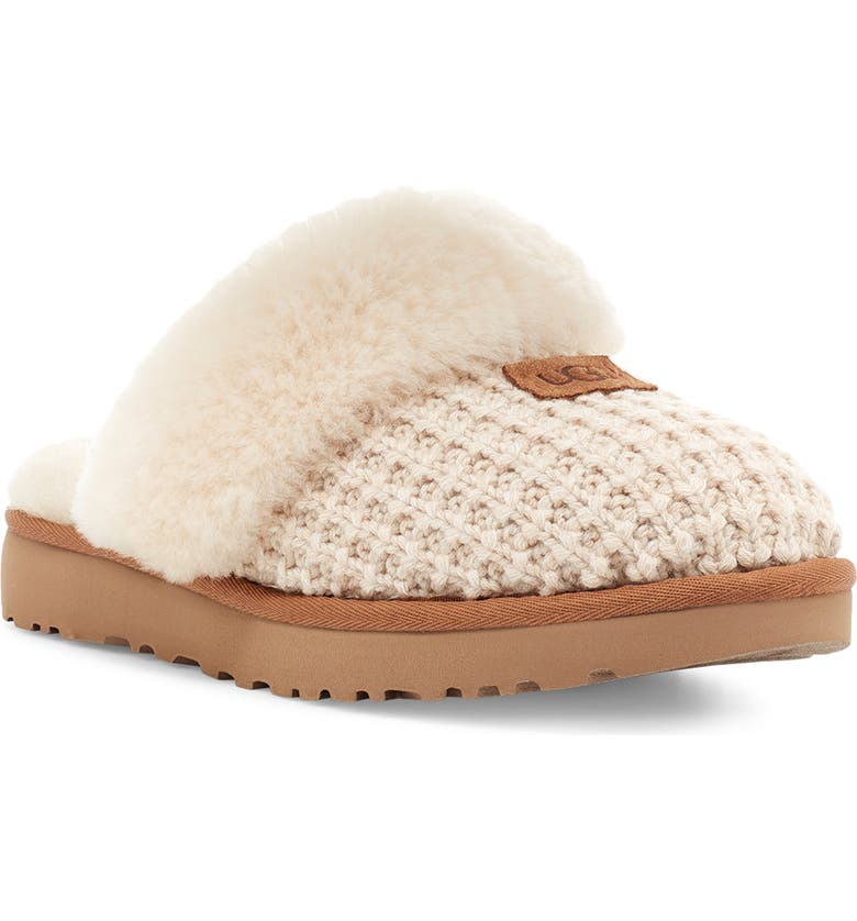 UGG<SUP>®</SUP> Cozy Knit Genuine Shearling Slipper, Main, color, CREAM KNIT