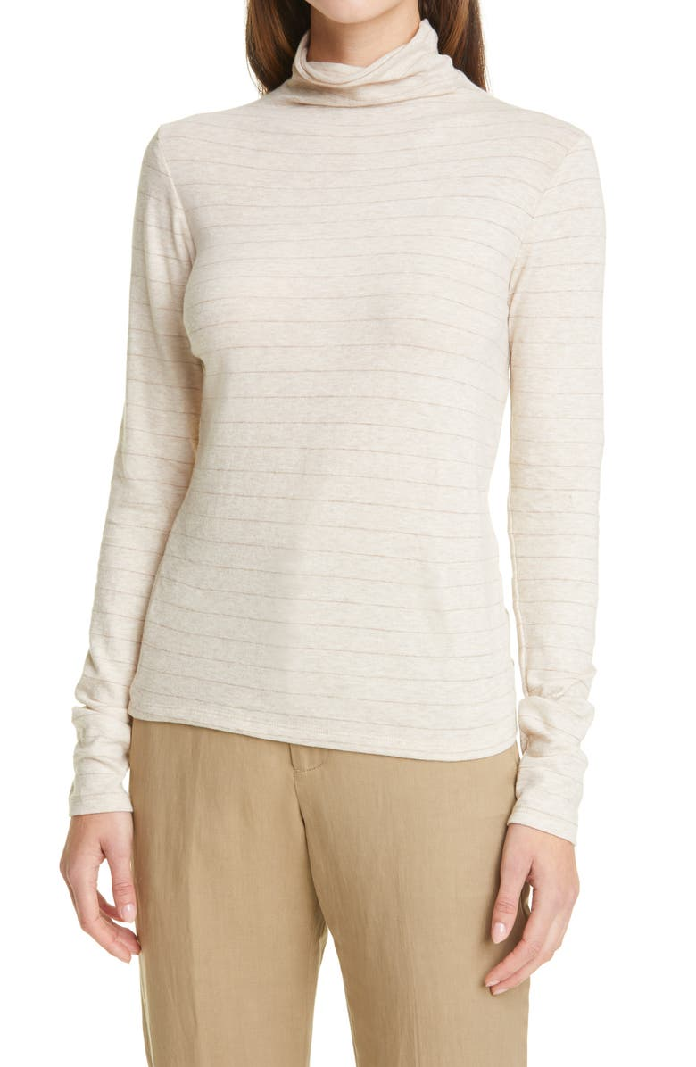 VINCE Hazy Chalk Stripe Turtleneck Top, Main, color, HEATHER OATMEAL/ DARK OATMEAL