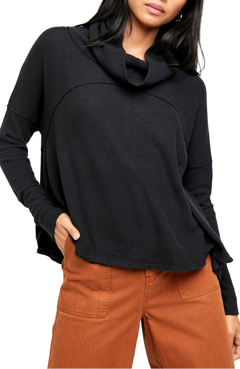 FREE PEOPLE Cozy Time Funnel Neck Top, Main, color, BLACK