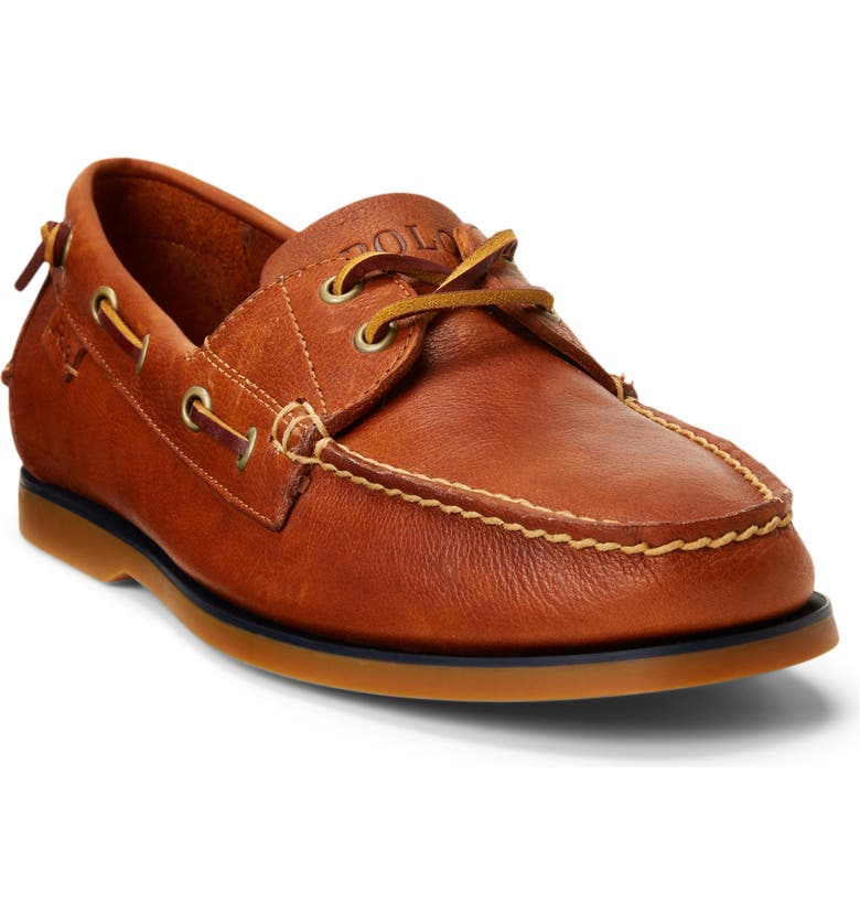 RALPH LAUREN Merton Boat Shoe, Main, color, POLO TAN