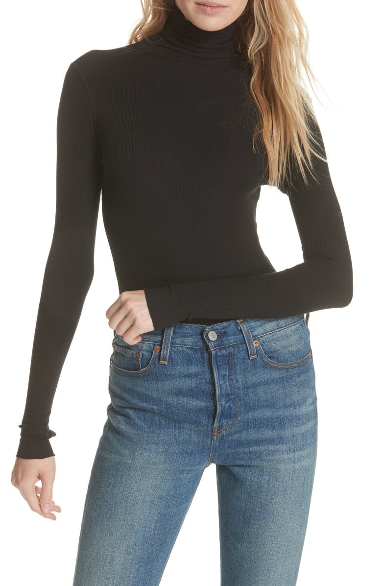 FREE PEOPLE That Classic Girl Bodysuit, Main, color, BLACK