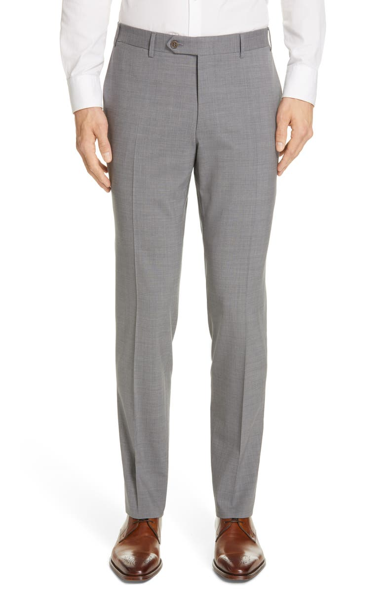 CANALI Flat Front Classic Fit Solid Stretch Wool Dress Pants, Main, color, GREY