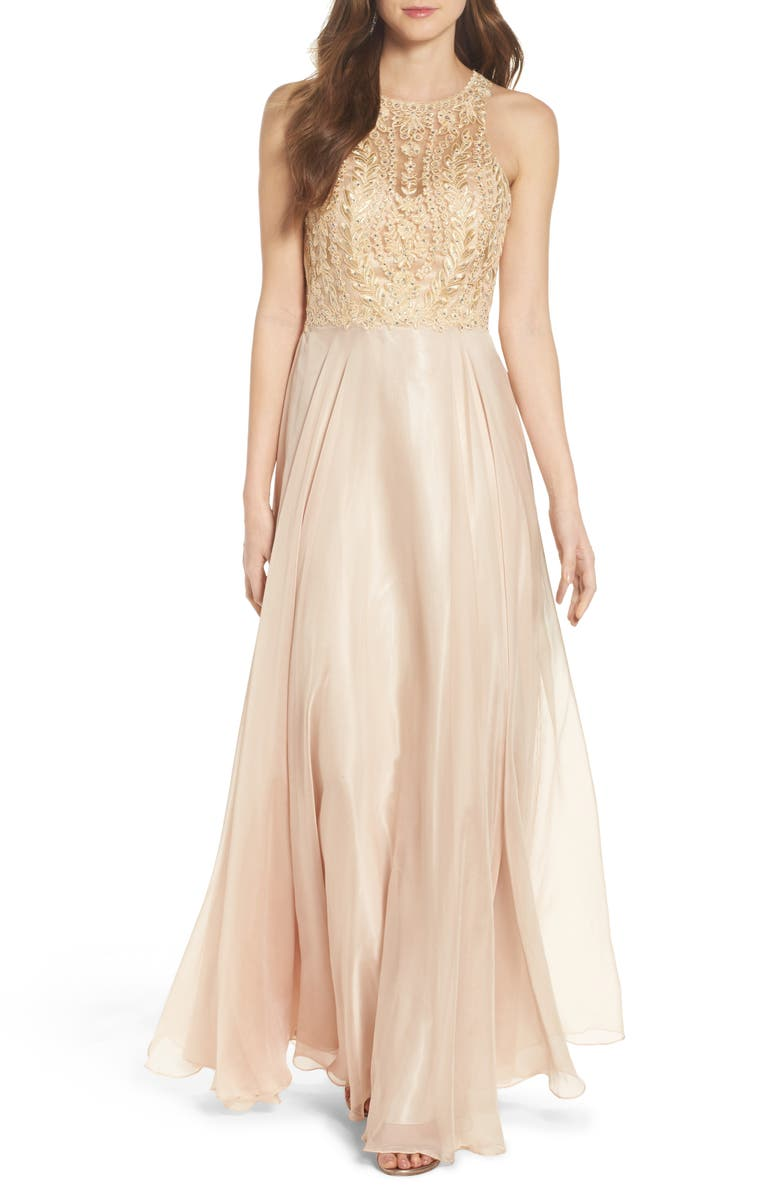 SEAN COLLECTION Sean Collecion Embellished Gown, Main, color, CHAMPAGNE