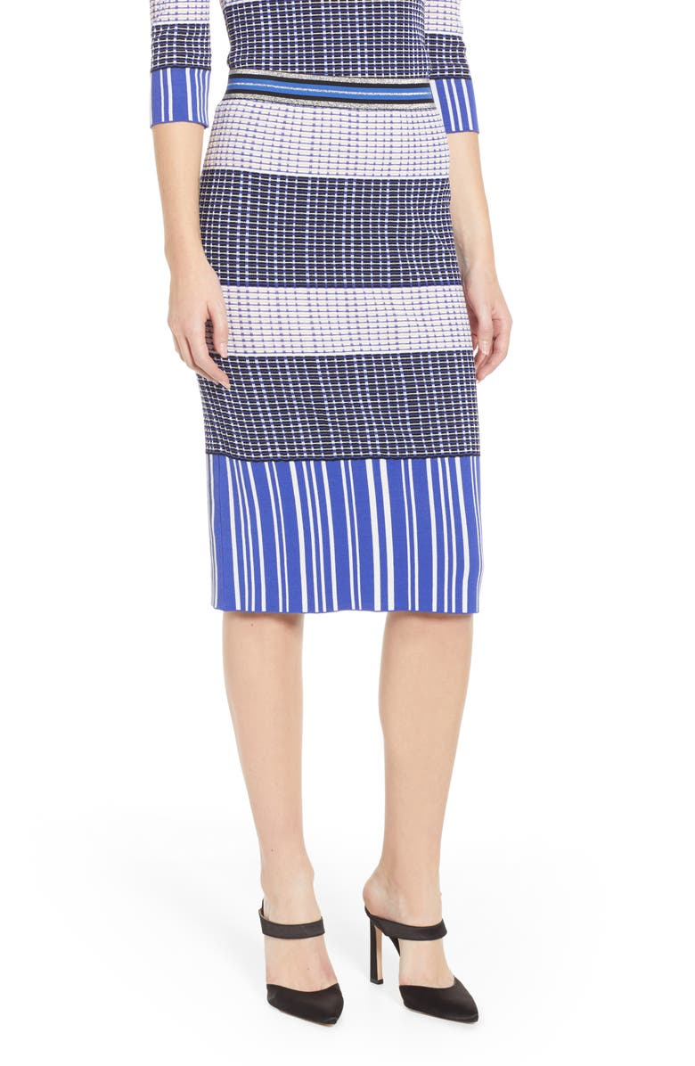 CHELSEA28 Geo Pattern Midi Sweater Skirt, Main, color, 510