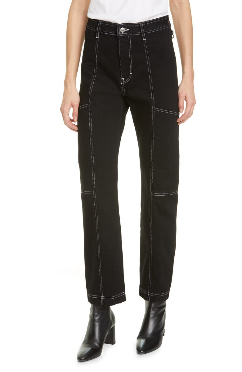 SIMON MILLER Paneled Straight Leg Jeans, Main, color, 001