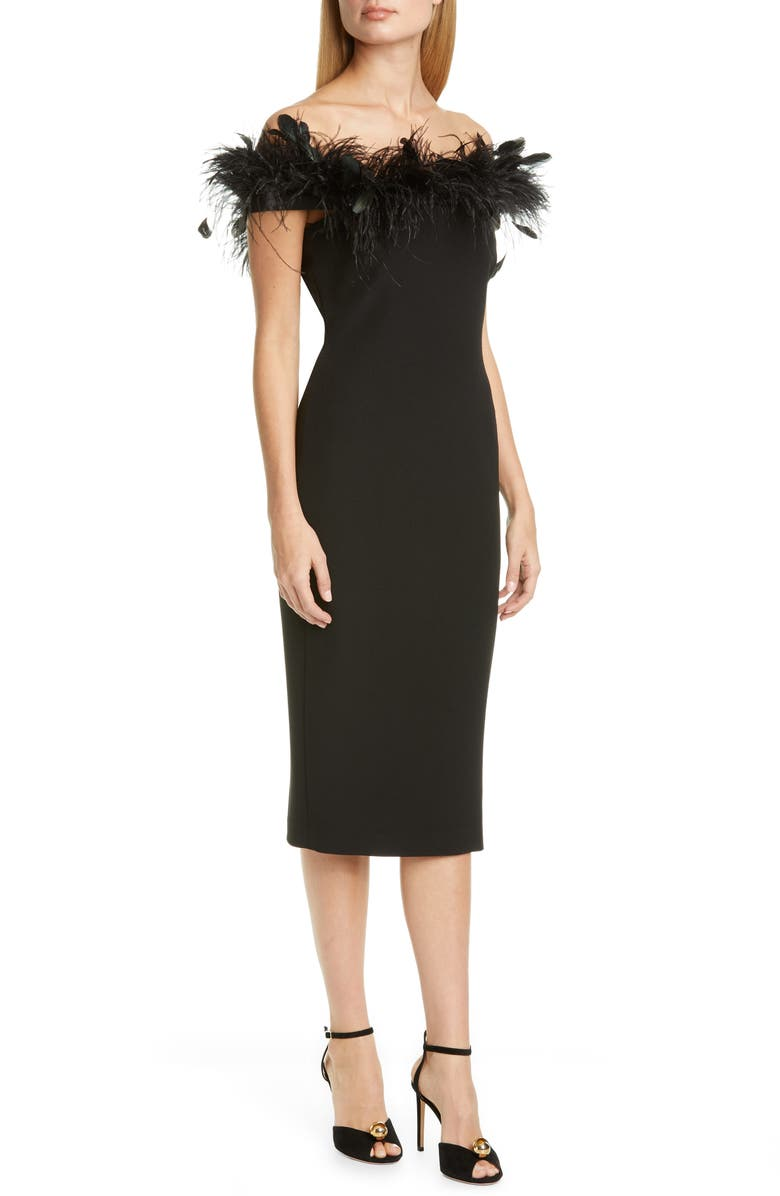 BADGLEY MISCHKA COLLECTION Feather Cocktail Dress, Main, color, Black