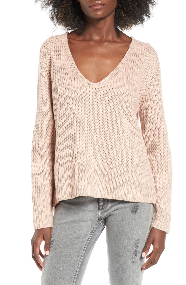LEITH V-Neck Sweater, Main, color, PINK SHADOW