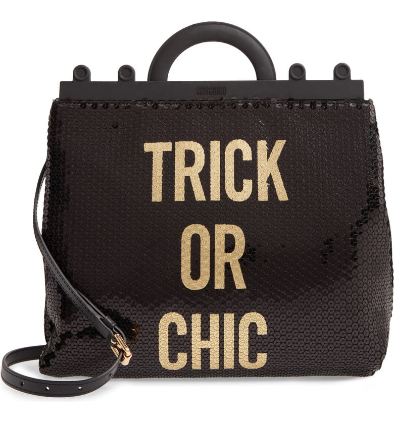 MOSCHINO Trick or Chic Sequin Shoulder Bag, Main, color, 001