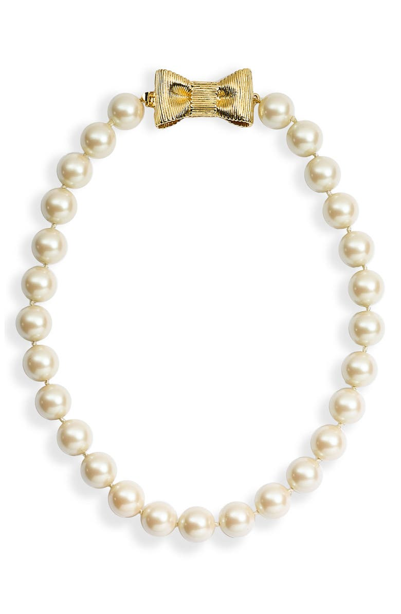 KATE SPADE NEW YORK 'all wrapped up' short glass pearl necklace, Main, color, 900