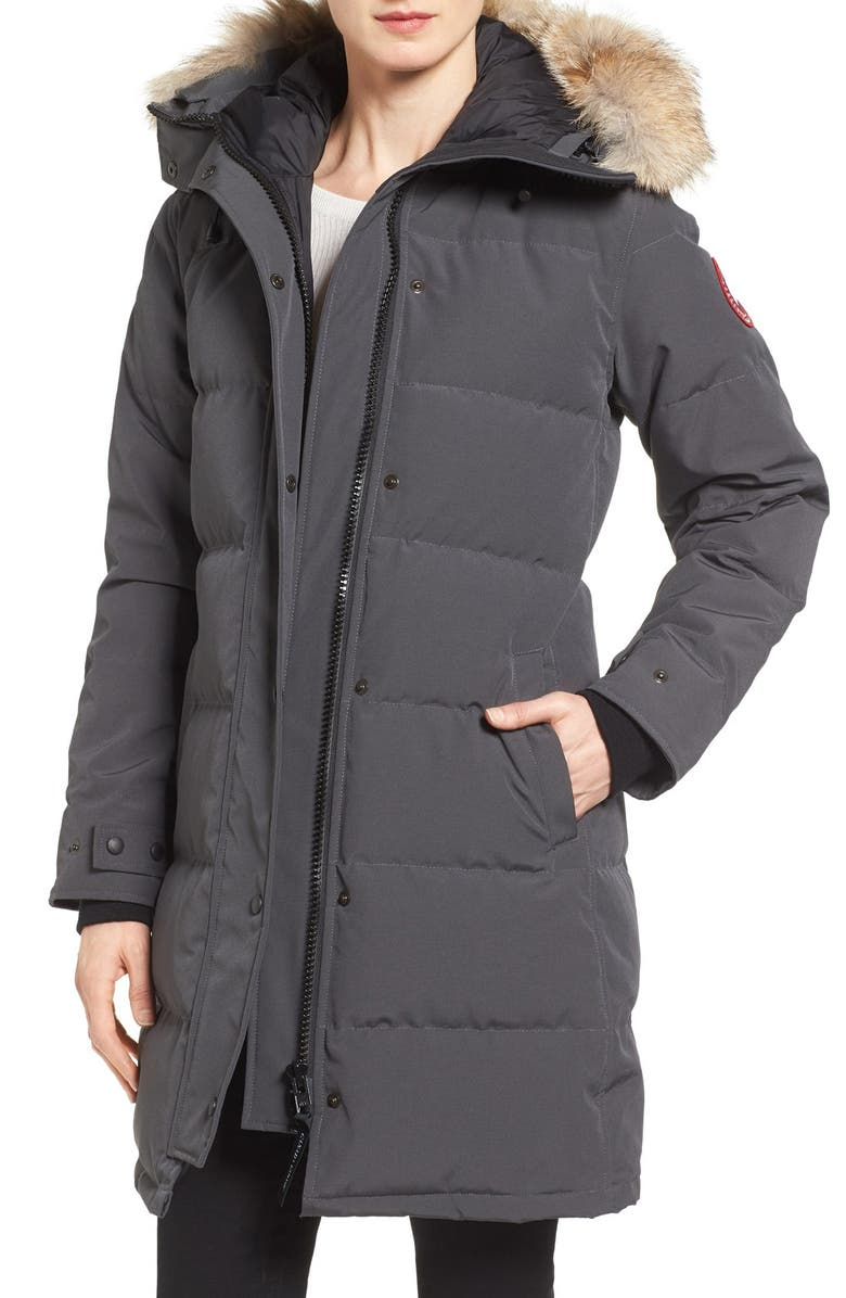 CANADA GOOSE Shelburne Genuine Coyote Fur Trim Down Parka, Main, color, GRAPHITE
