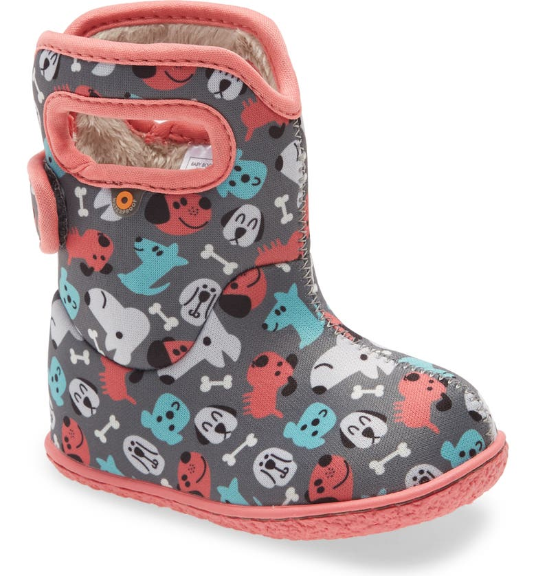 BOGS Baby Bogs Puppies Insulated Waterproof Boot, Main, color, DARK GRAY MULTI