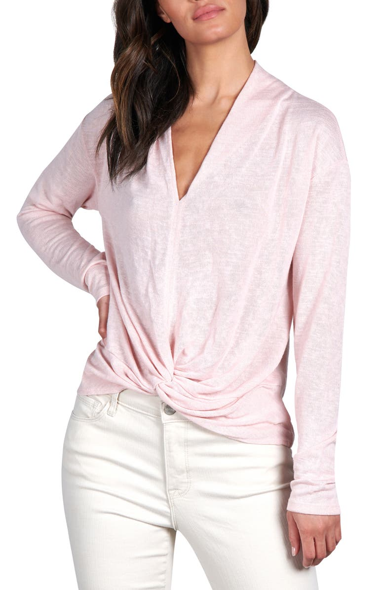 SANCTUARY Knot Interested Knit Top, Main, color, PEARL