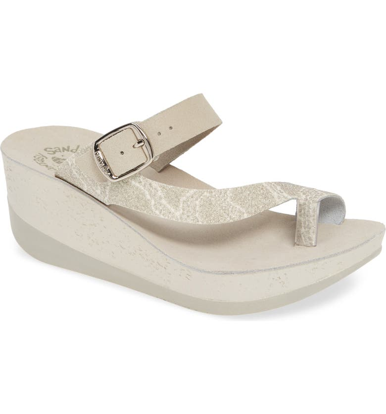 FANTASY SANDALS Felisa Wedge Sandal, Main, color, GREY SNAKE PRINT LEATHER