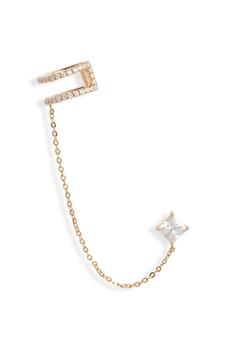NORDSTROM Chained Stud Ear Cuff, Main, color, CLEAR- GOLD