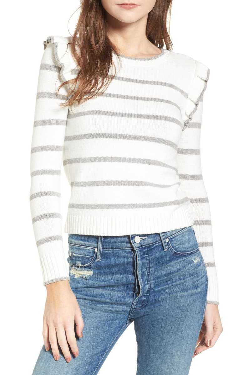 CUPCAKES AND CASHMERE Bryant Ruffle Stripe Sweater, Main, color, 110