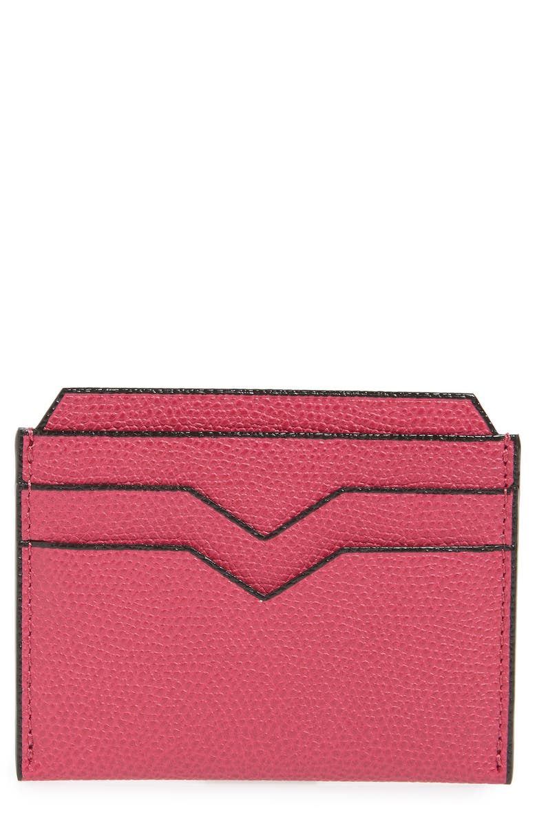 VALEXTRA Leather Card Case, Main, color, 651
