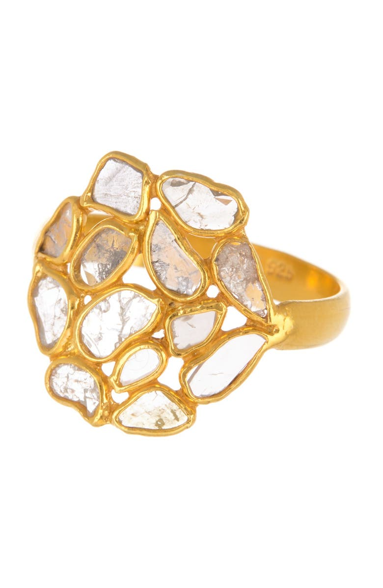 FOREVER CREATIONS Gold Vermeil Sterling Silver Diamond Slide Ring - 1.00 ctw, Main, color, YELLOW