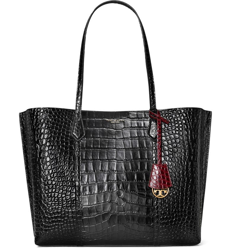 TORY BURCH Perry Croc Embossed Leather Tote, Main, color, BLACK