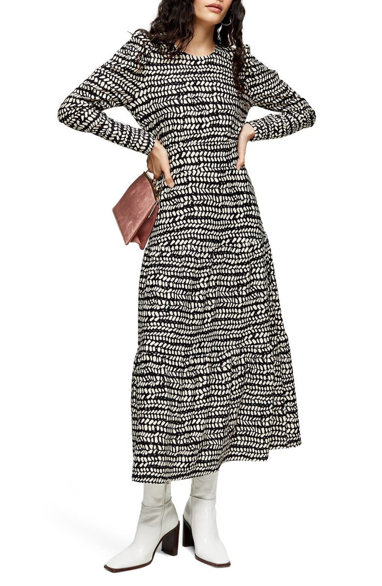 TOPSHOP Abstract Tiered Long Sleeve Midi Dress, Main, color, 002