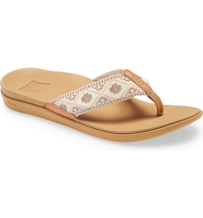 REEF Ortho-Bounce Woven Flip Flop, Main, color, VINTAGE WHITE