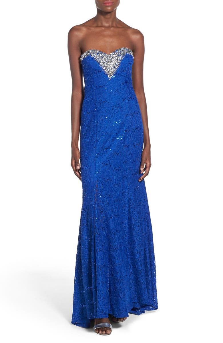 SEQUIN HEARTS 'Sara' Strapless Lace Gown, Main, color, COBALT BLUE