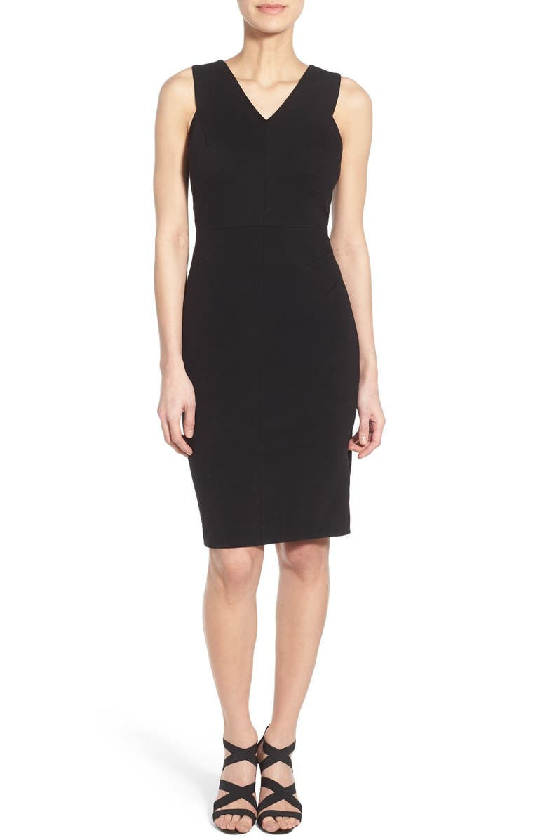 CLASSIQUES ENTIER<SUP>®</SUP> Italian Ponte Double V-Neck Sheath Dress, Main, color, 001