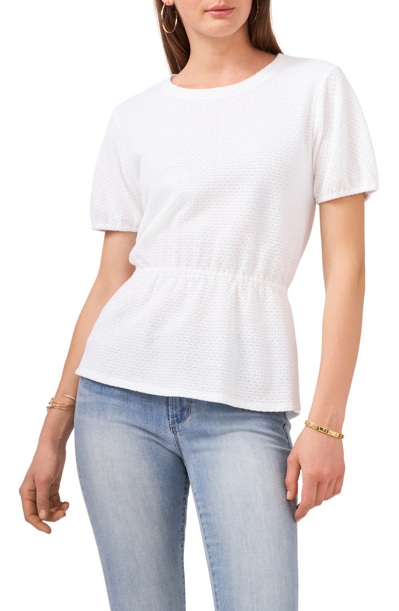 VINCE CAMUTO Knit Peplum Top, Main, color, NEW IVORY