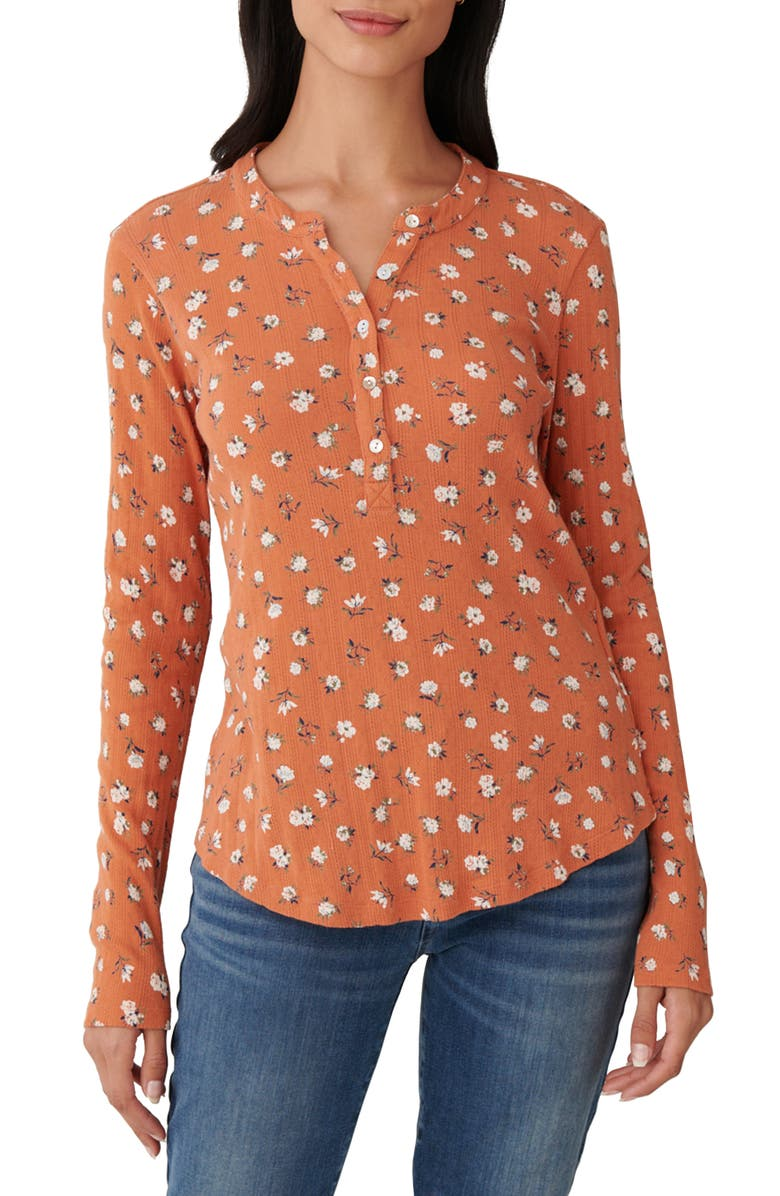 LUCKY BRAND Printed Pointelle Henley, Main, color, MULTI