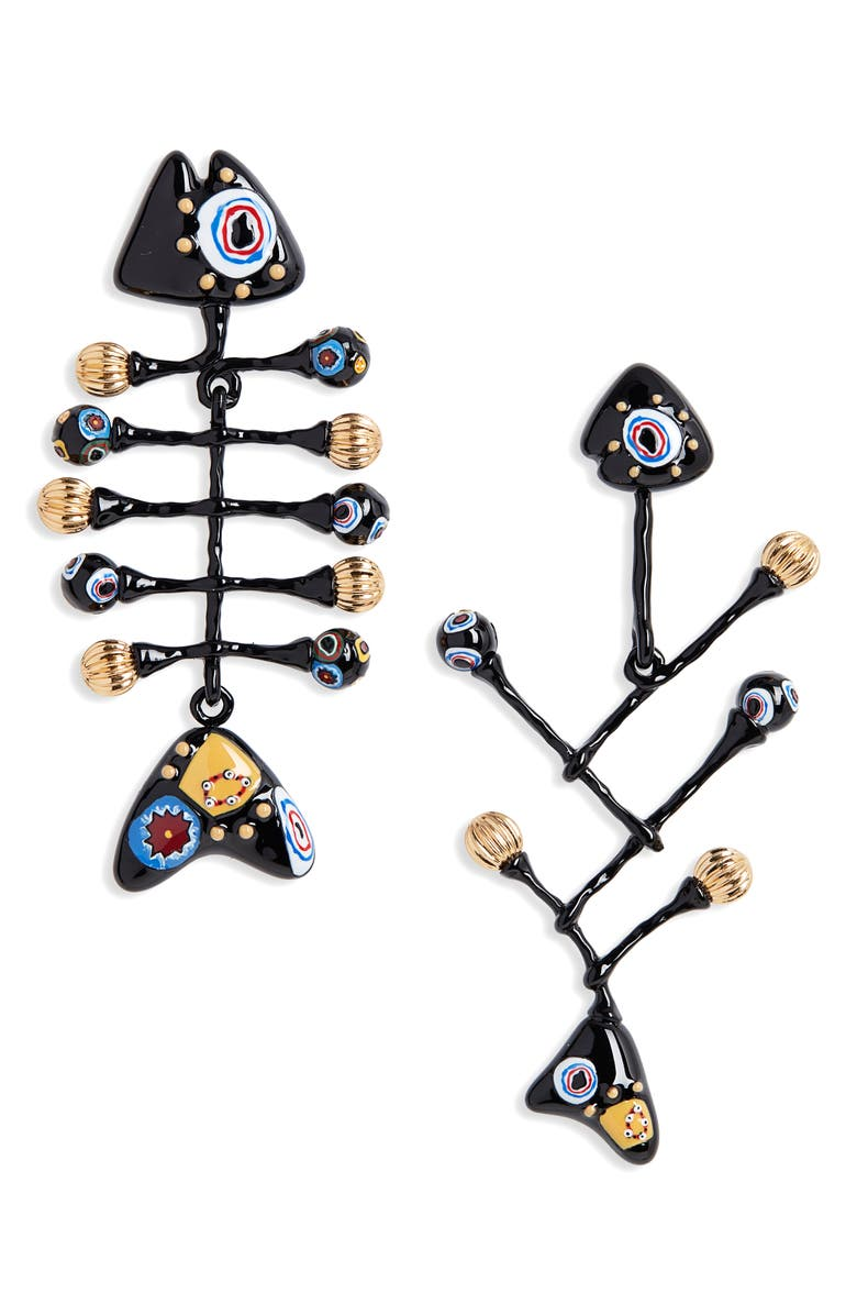 TORY BURCH Fish Painted Mismatched Drop Earrings, Main, color, ROLLED BRASS / BLACK MULTI