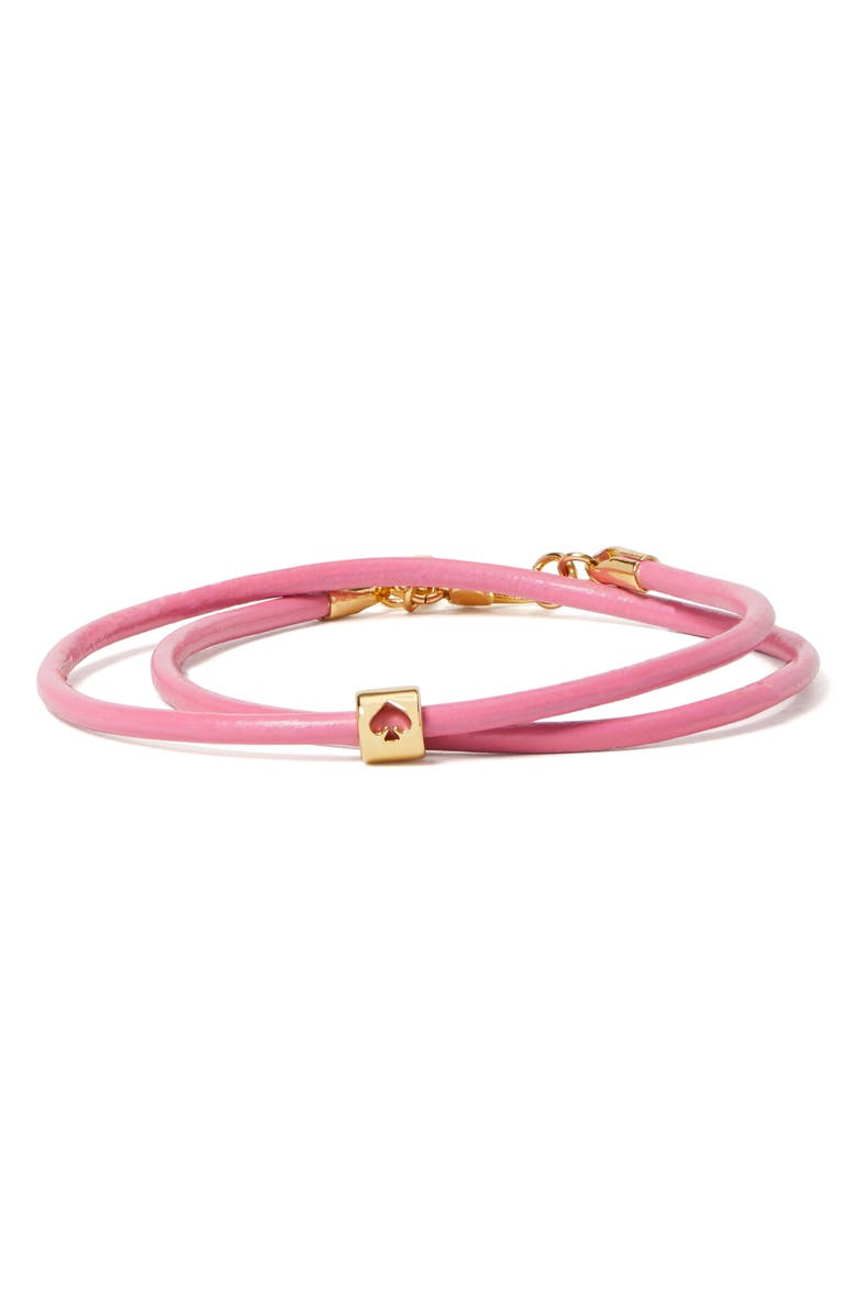 KATE SPADE NEW YORK wrapped-up leather bracelet, Main, color, PINK