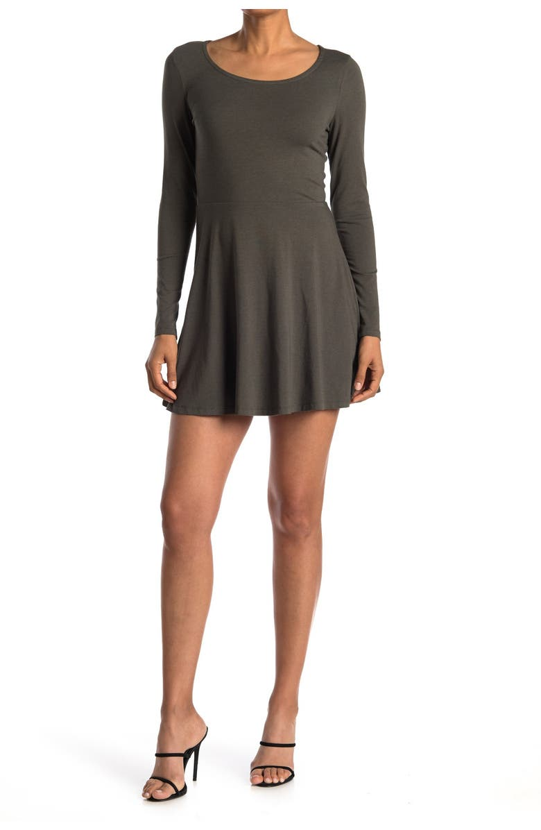 ABOUND Scoop Neck Long Sleeve Skater Dress, Main, color, CHARCOAL GREY