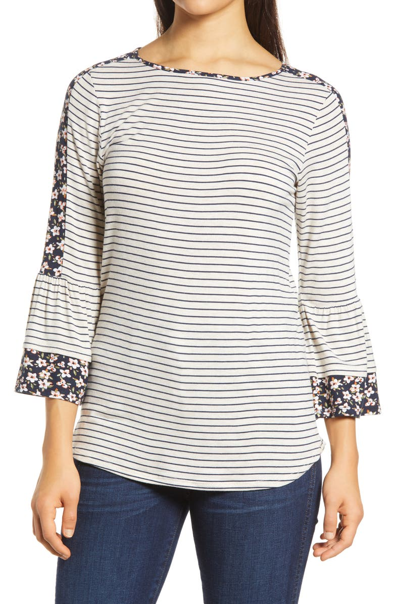LOVEAPPELLA Floral Stripe Flounce Sleeve Top, Main, color, OATMEAL/ NAVY