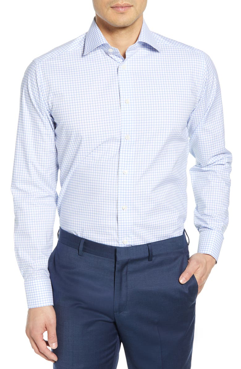 ETON Slim Fit Check Dress Shirt, Main, color, BLUE