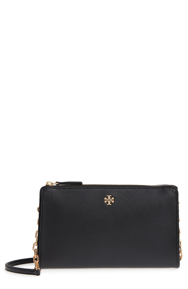 TORY BURCH Marsden Leather Wallet Crossbody Bag, Main, color, 001
