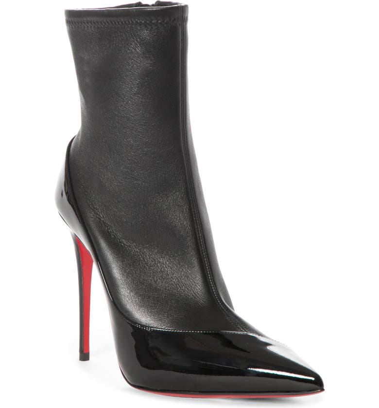 CHRISTIAN LOUBOUTIN Bibooty Pointed Toe Bootie, Main, color, BLACK