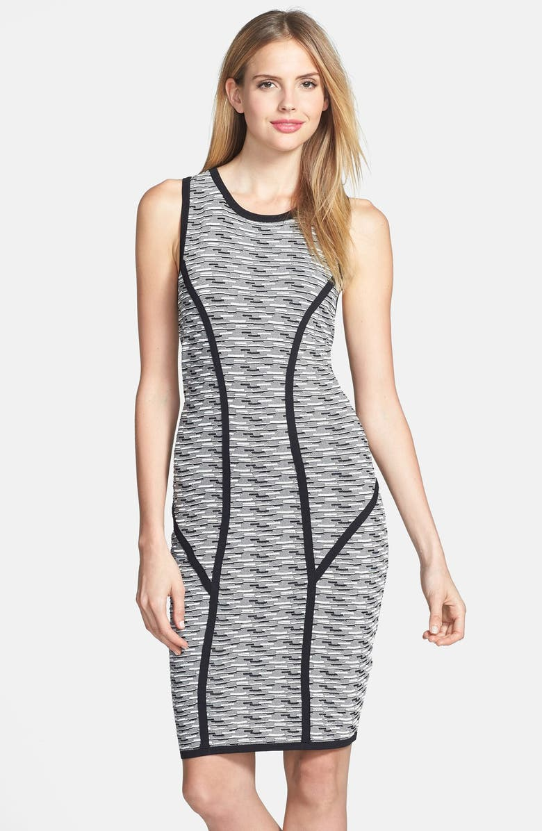 MARC NEW YORK by Andrew Marc Jacquard Sheath Dress, Main, color, BLACK/ WHITE