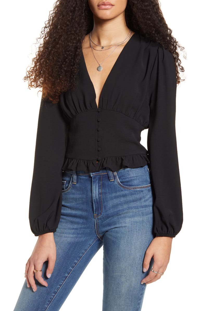 ONE CLOTHING Button Waist V-Neck Top, Main, color, 001