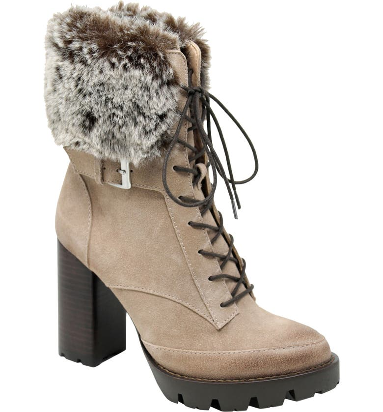 CHARLES DAVID Gutsy Lace-Up Boot with Faux Fur Cuff, Main, color, TAUPE SUEDE