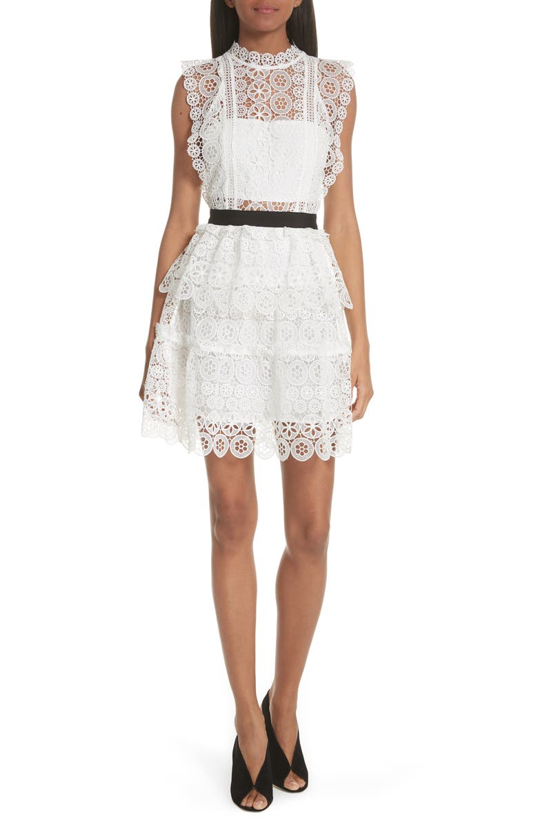 SELF-PORTRAIT Floral Lace Tiered Dress, Main, color, 100