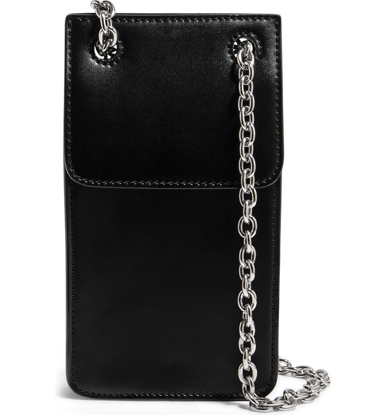 HOUSE OF WANT Vegan Leather Phone Crossbody Bag, Main, color, BLACK/ SILVER