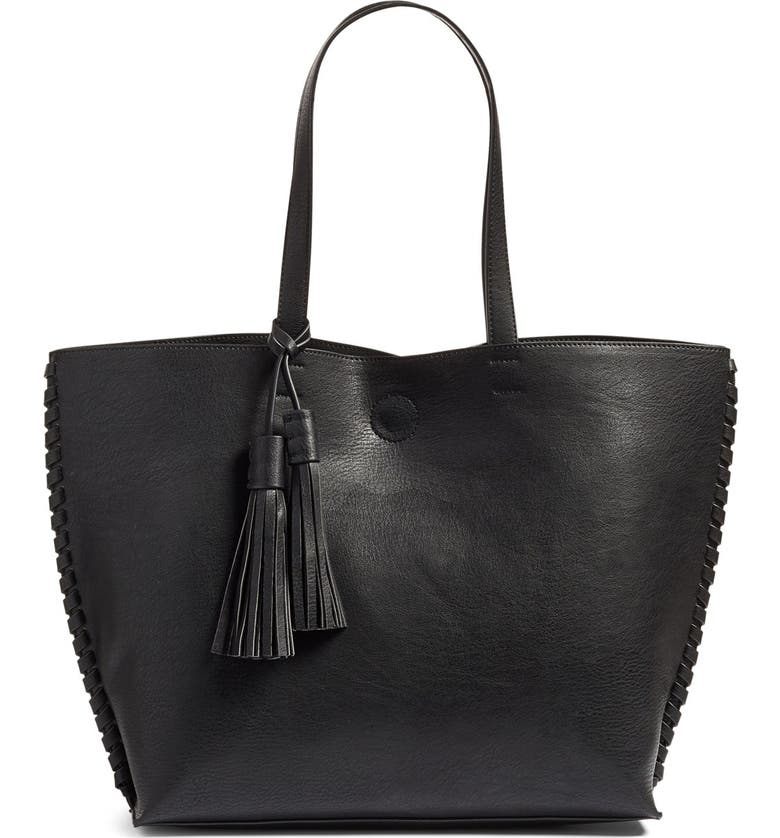 PHASE 3 Whipstitch Tassel Faux Leather Tote, Main, color, Black