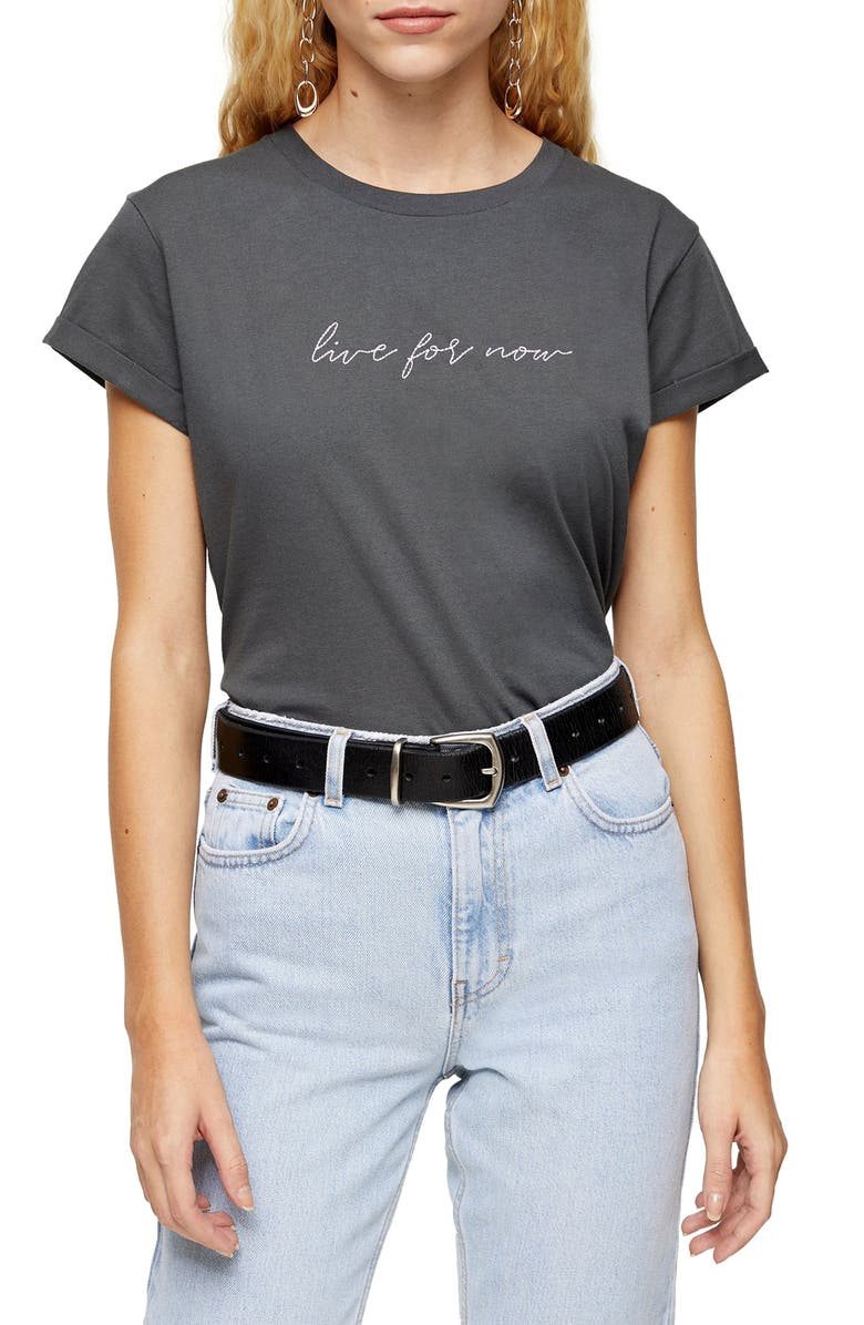 TOPSHOP Live For Now Tee, Main, color, 021