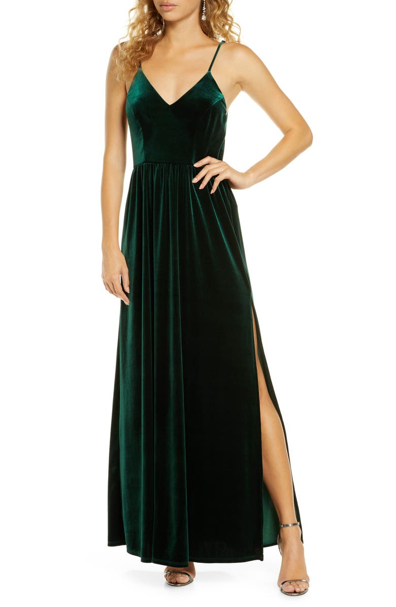 LULUS Final Song Strappy Back Velvet Gown, Main, color, 320