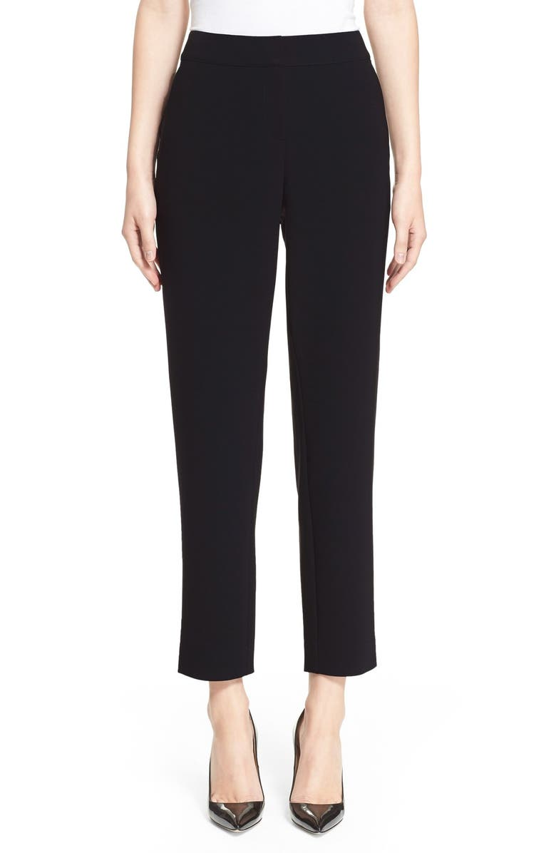 ST. JOHN COLLECTION Emma Crop Crepe Marocain Pants, Main, color, CAVIAR