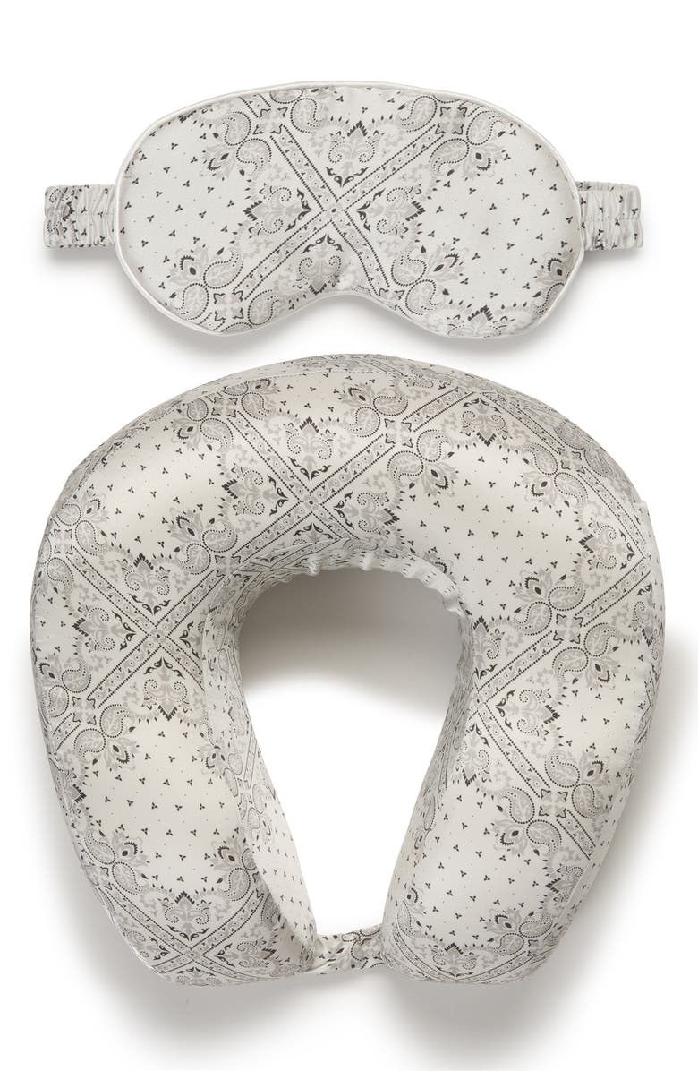 CALPAK Silk Travel Neck Pillow & Eye Mask Set, Main, color, WHITE BANDANA